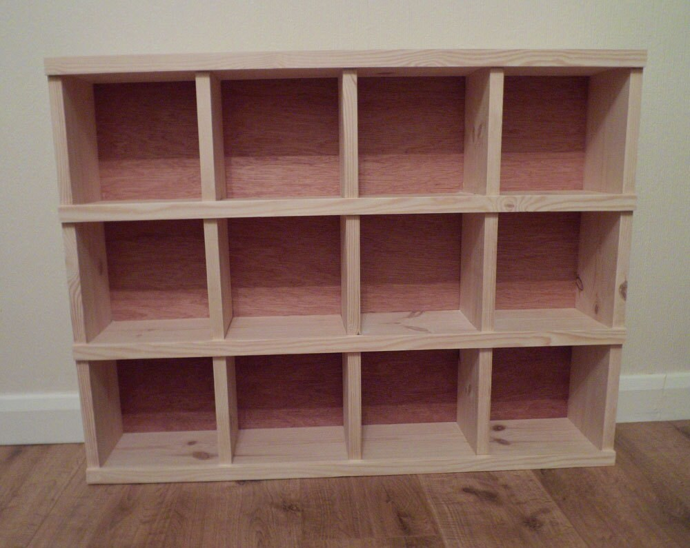 Handmade wooden pigeon hole storage unit cubby hole shelf for Storage unit plans