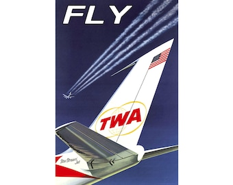 FLY TWA - Trans World Airlines -Boeing 707 Travel Poster Retro 1960's Plane Art -available in 4 sizes- Print 054