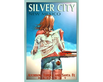 SILVER CITY New Mexico Santa Fe Railroad Original Poster New Train Travel Tourism Pin Up Art Print 099