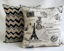 ZIPPER PILLOW COVER French pillow - Paris Pillow - Onyx pillow - on natural background fabric - Euro sham - Lumbar
