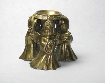 Vintage solid brass candle holder angels cherubs