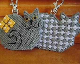 Grey Cat Clip Charm Beaded Needle Art