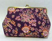 Purple Vintage Style Clutch, Fun Floral Purse, Bridesmaid Clutch, Purple Floral Clutch, Funky Handbag, Mustard Clutch, 7-inch Clasp