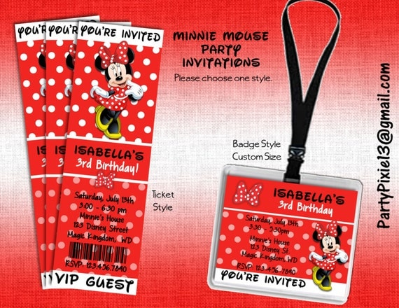 Disney Minnie Mouse Party Invitations Ticket Style Or Badge