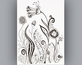 Adult coloring page Black and White download, Instant Digital Download, Abstract flower black and white, pen line drawing