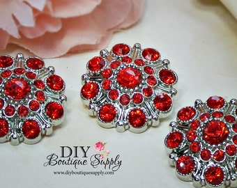Large Rhinestone Buttons Bright RED- Rhinestone Crystal buttons Embellishments Acrylic Flower centers Headband Supplies 28mm 3 pcs 598040