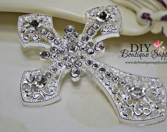 Silver CROSS Crystal Brooch Component FLATBACK - Wedding Brooch Rhinestone Brooch Bouquet - Bridal Brooch Sash Pin 70mm 659220