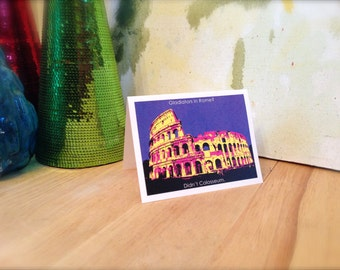 Funny card, ancient Roman architecture, Colosseum, Rome Italy, Gladiators, archaeology, andy warhol style, graphic illustration