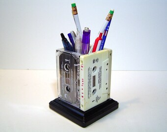 Cassette Pencil Holder - Retro 80's Cassettes with Wooden base