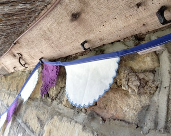 3.9m (12ft) - Purple Doilie and Blue and White Table Linen Bunting