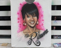 Airbrushed T-shirt with a hand painted portrait of Rihanna