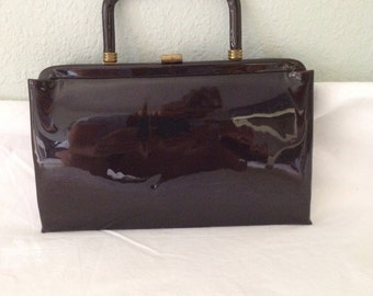 Vintage brown Garay purse, brown patent leather purse, 60s purse, classic clutch