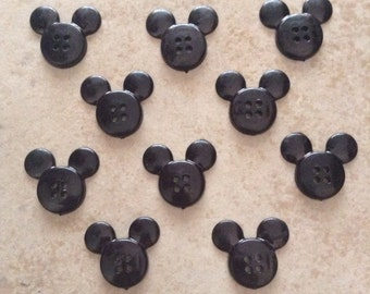 Set of 10 Black Mickey Head Buttons