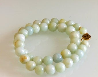 SALE Vintage Pale Green Celadon Jade Necklace with 18K Gold Clasp