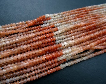 Natural Peach Moonstone 2 to 3mm Micro Faceted Rondelles Full 13 inch Strand-AAA+,Best Price