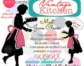 Chef in Apron Vintage Kitchen Clipart Silhouette: Meet June Clever