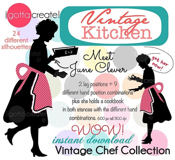Chef in Apron Vintage Kitchen Clipart Silhouette: Meet June