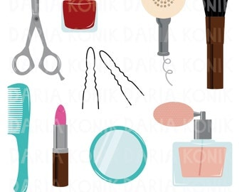 Beauty Utensils Clip Art Set-beauty clipart, lipstick, nailpolish, comb, perfume bottle, hairdryer, mirror, eps, png, jpeg, instant download