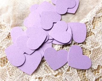 50 Purple Lavender Mini Heart Die Cut, Punches, scrapbook, embellishments, cards, cardstock, conffeti 5/8 inch