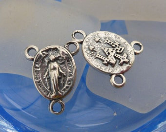 """Sterling Silver Miraculous Mary Virgin Mary Rosary Center 5/8"""" CT014Q"""