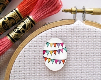 Magnetic Bunting Needle Minder for Cross Stitch, Embroidery, & Needlecrafts (18mmx25mm with Strong Magnet)