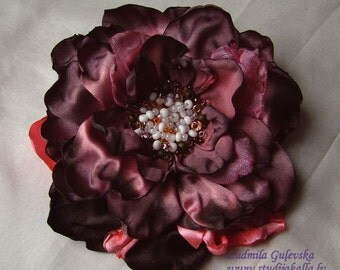 Handmade lightcoral - pink - gray satin flower brooch, flower clip & pin