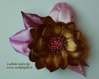 Handmade golden-brown-purple satin flower brooch, flower clip & pin, embroidered flower