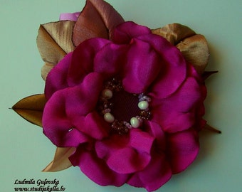 Flower brooch, fuchsija satin flower pin, 100% handmade.