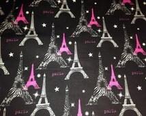 Paris Eiffel Tower Black Gray & Hot Pink Zebra Fabric BTY 100% Cotton Quilting Apparel Crafts Home decor