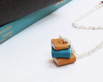 Tiny Leather Book Necklace - Pile of Books/ Book Stack - Literature Jewellery - Yellow, Teal & Yellow Ochre Colour - Handmade OOAK