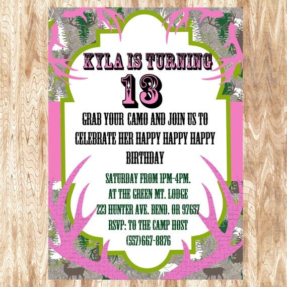 Pink Camo Birthday Party Invitation JPEG 300 By