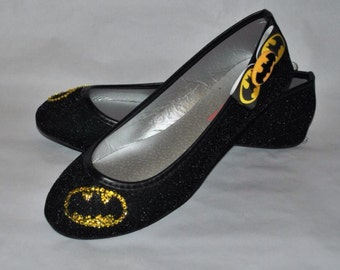 Batman Glitter Ballet Flat Shoes
