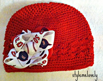 Boston Red Sox Baby Girl Boutique Bow Crocheted Hat