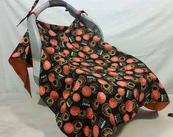 Carseat Cover, Carseat Canopy, Basketballs Hoops and scoreboards with Orange Back