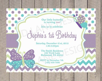 Girl First Birthday Invitation, Butterflies, Spring First Birthday, Purple, Green and Teal, Butterfly, 1st, 2nd, 3rd, 4th - 5046B