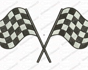 Checkered Flags Embroidery Design in 2x2 3x3 4x4 and 5x7 Sizes