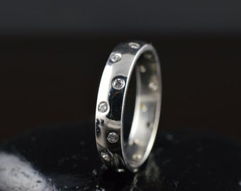 "Rachel - Diamond Wedding Band in White Gold, Round Brilliant Cut, ""Polka Dot"" Bezel Setting, Eternity Style, Stackable, Free Shipping"