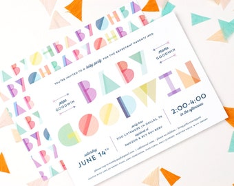 Geometric Baby Shower Invitations - Gender Neutral Shower - Colorful - Fun - The Eclectic Press