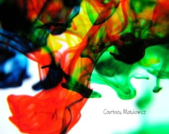 Red, yellow, green, and blue dye 8x10 fine art photography print