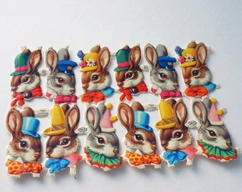 Vintage Colorful Embossed Easter Bunny in Party Hats with Bows & Scarves England Die Cut Paper Scraps, 36 total