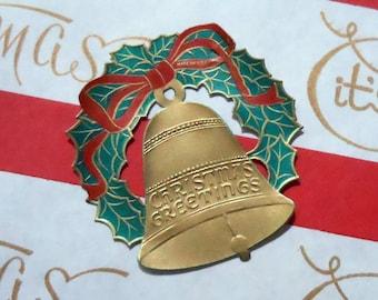 SALE 25% OFF CIJ Vintage Embossed Victorian Diecut Christmas Greetings Gold Bell & Wreath Paper Scraps Pack of 6 Seals