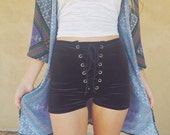 Solid Velvet Lace Up Shorts, Grommet shorts,stretch, festival wear