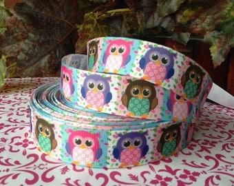 3 Yards  1' OWL printed Grosgrain Ribbon