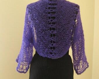 purple , shrug,bolero,long sleeve, few lurex,soft,light,wedding,night..