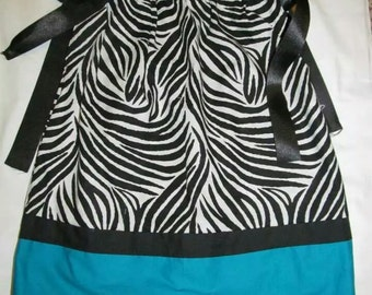 4T Zebra and Turquoise Toddler Pillowcase Dress