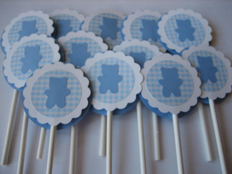 Cupcake toppers baby boy cupcake toppers baby shower cupcake for Baby shower cupcake picks decoration