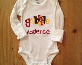 Girly Gobble Thanksgiving Shirt or Baby Bodysuit