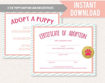 elf adoption certificate template - dachshund girl puppy birthday party or baby shower