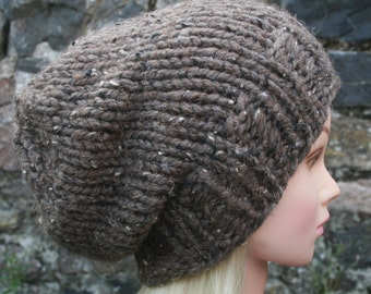 Hand Knit Hat- Womens Hat- Slouchy- Beanie hat in light brown tweed- winter hat- Womens Accessories