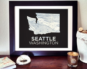 Seattle Art Print, Seattle Washington Print, Seattle Map Print, Washington State Print, Seattle Gift